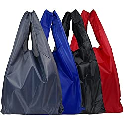 4Pcs Recycle Shopping Bags Handle Foldable Reusable Colorful Tote Bag (Red/Blue/Grey/Black) By Ganjingren