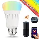 LOONFREE 9W E27 WLAN Multi Farbe Smart LED Lampen, Ersatz für 60W Glühbirnen, 810lm, Steuerbar via App, Arbeit mit Alexa, Einstellung der Szene, intelligentes Leben, wählen Sie zuerst Smart Home [Energieklasse A+]