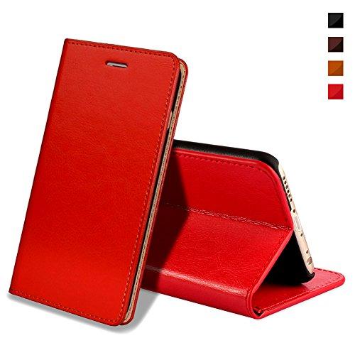 EATCYE iPhone 6S Plus Handyhülle,iPhone 6 Plus Hülle, [Echt Leder] Handyhülle Brieftasche Flip Lederhülle Schutzhülle [Versteckt Magnet] Hülle für Apple iPhone 6S Plus/iPhone 6 Plus (Rot) - 6 Iphone Telefonieren Plus