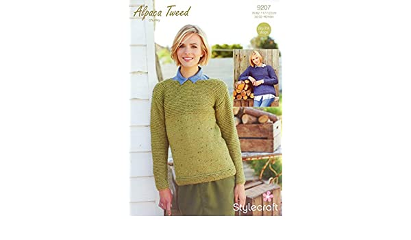 b42a937638c5 Stylecraft 9207 Knitting Pattern Ladies Jumpers in Stylecraft Alpaca Tweed  Chunky  Amazon.co.uk  Kitchen   Home