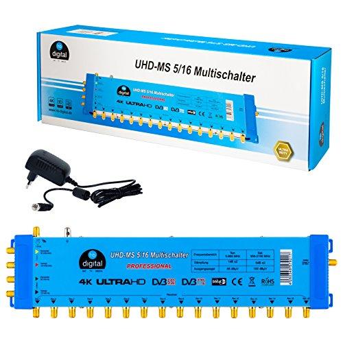Multischalter pmse 5/16 HB-DIGITAL 1x SAT bis 16 x Teilnehmer / Receiver für Full HDTV 3D 4K UHD mit Netzteil 3d Full Hdtv