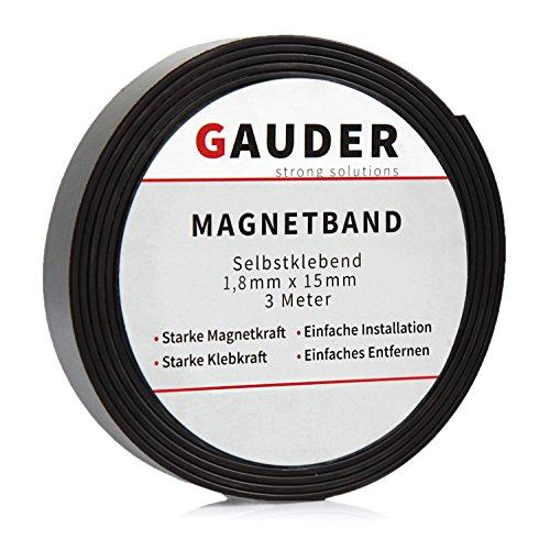 GAUDER Magnetband selbstklebend I Magnetklebeband I Magnetklebestreifen I Magnetisches Klebeband I Magnetstreifen I Schule & Präsentationen