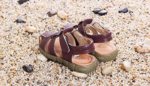 Evedaily Sandales Chaussures de Marche Mixte Enfant Sandales Souple Bout Fermé En Cuir Marron
