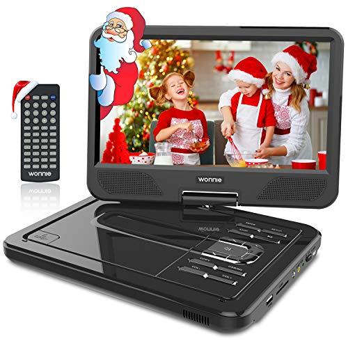 WONNIE 2020-Upgrade 10,5 Zoll Tragbarer DVD Players mit 270° Schwenkbaren Bildschirm und Einer Akkulaufzeit von 4 Stunden, Unterstützt USB,SD, AV In/Out, 3-in-1 Adapter (Schwarz)