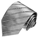 LORENZO CANAv- Business Marken Krawatte aus 100% Seide - Grau Silber Weiss Schwarz Streifen - 84304