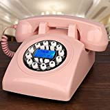 BHXUD Schnurtelefon, Festnetz, Tasten-Garten-Art amerikanisches mechanisches Bell-Hauptbüro-Telefon,Pink