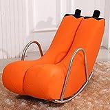 Schaukelstühle HWF Liegesessel Sofa Stuhl Lounger Individuelle Persönlichkeit Mode Balkon Leder (Farbe : Orange, Stoff : Leather)