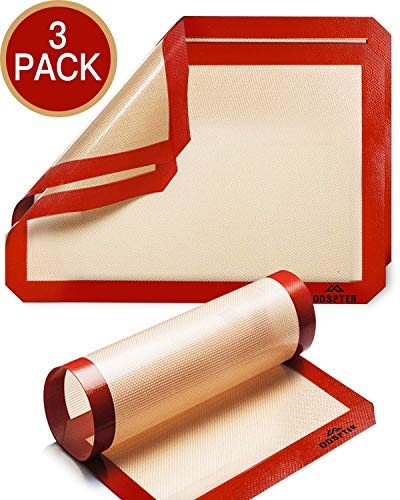ODSPTER Backmatten Silikon, Silikonmatte Backunterlage Antihaftbeschichtet, BPA-frei, Haltbare Dauerbackfolie - Backfolie - Silikonmatte groß (30 x 42 cm) - Silikonmatte Klein(30 x 21 cm) (3 Stück)
