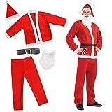 The Twiddlers Traje de Santa para Hombre y Mujer - Conjunto de Barba, Gorra, Pantalón, Cinturón y Chaqueta Fiesta de Disfraces de Navidad.