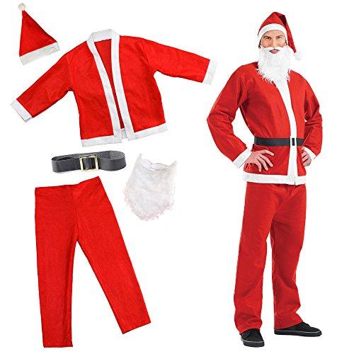 Costume da babbo natale – perfetto e stravagante travestimento natalizio – barba finta, cappello, pantaloni e giacca
