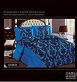 Moderne Marken 4Stück Beflockung komplett Bett-Set, 1Bettbezug, 1Querbehang & 2Kissenbezüge, blau, King 220 X 230
