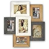 ZEP Chevilly - Portafotos múltiple, 60.5 x 55.5 x 4 cm, color marrón, gris y blanco