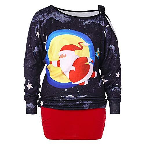 Vectry Weihnachtsbluse Christmas Jumper Weihnachts Pullover Ugly Sweater Lustige Sweatshirts Hässliche Pullover, Damen Weihnachtsmann Star Schulterfrei Tops Langarmshirts Mädchen Casual Lose Blusen