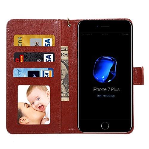GHC Cases & Covers, A2 Universal Da Vinci Textur Horizontale Flip Ledertasche mit Crad Slots & Brieftasche & Foto Frame & Magnetic Gürtelschnalle & 18cm Lanyard für iPhone 7 Plus & 6s Plus & 6 Plus, S Brown