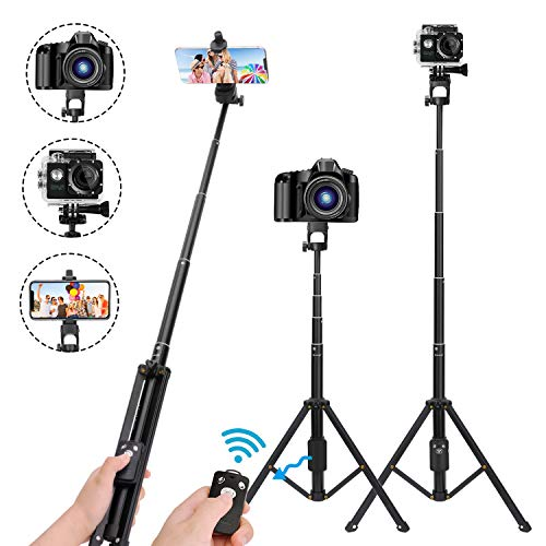 Selfie Stick treppiede, 137,2 cm allungabile fotocamera treppiede per cellulare, telecomando wireless per dispositivi Apple e Android, compatibile con iPhone 6, 7, 8 X Plus, Samsung Galaxy S9, Note8
