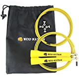 WOD Nation Speed Jump Rope - Blazing Fast Rope for Endurance training for Sports like Cross Fitness, Boxing, MMA, Martial Arts or Just Staying Fit - Fully Adjustable to Fit Men, Women and Children - YELLOW