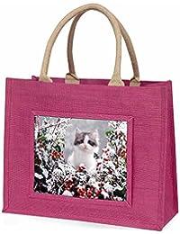 Winter Snow Kitten Large Pink Shopping Bag Christmas Present Idea