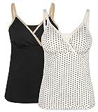 Intimate Portal Damen Komfortables Umstandskleidung Baumwoll Oberteil zum Stillen 2er-pk - M, Schwarz Weiß