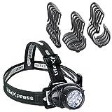 LiteXpress Set LED-Stirnlampe mit Helmhalterung, Kunststoff, Schwarz, 7 x 5,5 x 4,5 cm, 2 Einheiten