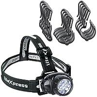 LiteXpress Set lampe frontale LED avec casque, plastique, noir, 7x 5,5x 4,5cm, 2unités