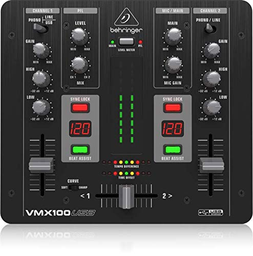 Behringer Pro Mixer VMX100USB  2-Kanal DJ Mixer mit integriertem USB/Audio Interface, BPM Counter und VCA Crossfader