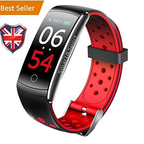 iSmart fitness tracker, 2018iSmart orologio pressione cardiofrequenzimetro, IP68impermeabile Activity Tracker braccialetto intelligente per iOS Android, Z11C–colore rosso