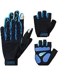 INTEY Gants Cyclisme de Vélo VTT Bicyclette Respiratoire Antichoc Antideparant --deux lot de paires de gants(1 paire de gants vélo+ 1 paire de mi gants)