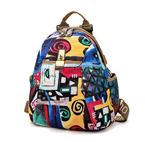 Weibliche Reisetasche Rucksack Große Kapazität Mamabeutel Mehr Mit Oxford Tuch Umhängetasche Student Paket Coole Farben,7-OneSize
