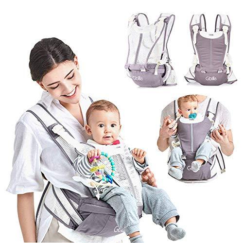 Mochila Portabebé 4 en 1 de Diseño Ergonómico con Múltiples Posiciones Ajustable Portadores Marsupios para Recién Nacidos/Bebés Dos cinturones de repuesto para Verano y Invierno (Gris)