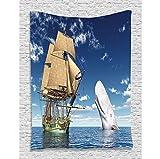 HYDDAXJW Wal-Dekor Ozean Liebhaber Piratenflagge Sailorboat Ornament Dekorationen Kinder Jugend Kindergarten, Wandbehang Tapisserie, (W) 150X (H) 130Cm
