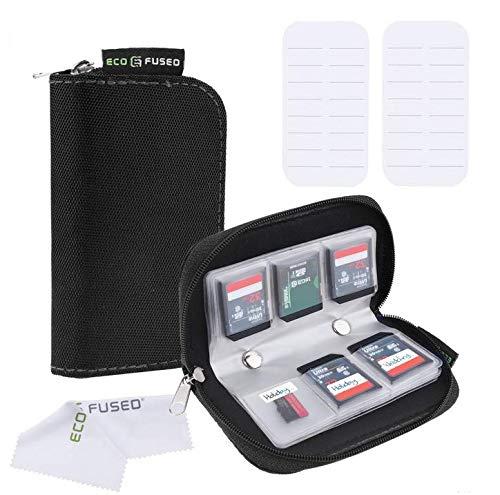 Speicherkarten-Tasche - 2 Stück - Passend für bis zu 22x SD, SDHC, Micro SD, Mini SD und 4X CF - Halterung mit 22 Schlitzen (8 Seiten) - Zur Aufbewahrung und für unterwegs (Schwarz (2X)) Mini-memory Card