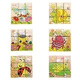 Sunsoar Hot Wooden Blocks Animals Kid Children Baby Educational Toy Cartoon Puzzle Birthday