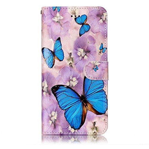 Custodia iPhone 7 Plus, iPhone 7 Plus Cover, ikasus® iPhone 7 Plus Custodia Cover [PU Leather] [Shock-Absorption] Fiore Farfalla Lupo Gufo Dreamcatcher Modello Colorato verniciato Goffratura Protettiv Farfalla blu e fiore viola