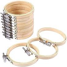 FineInno 12 Stücke DIY Stickrahmen Holz Bambus-Holz Stickrahmen Nähen Sticken Set Hoop Ring für