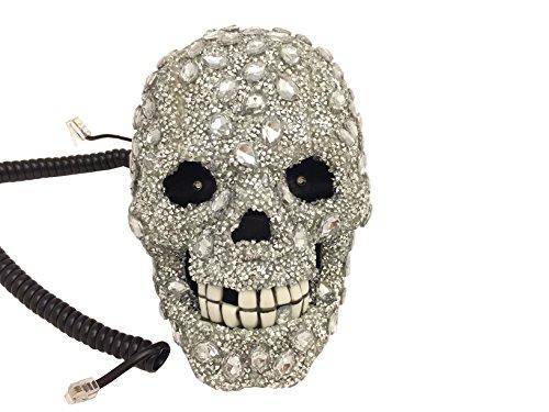 blingustyle New irisierend mit/Kristalle Totenkopf Telefon zu Hause für Home Office und Geschenk NS