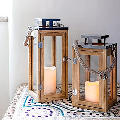 Wooden Battery Operated LED Candle Lantern with Rope Handle by Lights4fun by Lights4fun