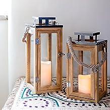 Linterna pequeña de madera con vela LED a pilas y asa de cuerda di Lights4fun