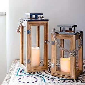 grande lanterne en bois avec bougie led piles et anse en corde 34cm par lights4fun. Black Bedroom Furniture Sets. Home Design Ideas