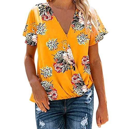 Clacce Damen Chiffon Blusen Elegante Reißverschluss Kurzarm Bluse Tunika Oberteile T-Shirt V-Ausschnitt Tops