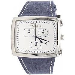 Roberto Cavalli Reloj auténtica piel marrón azul claro