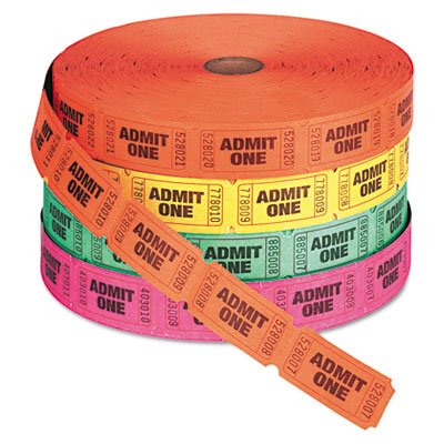 PM COMPANY Numbered Admit One Single Ticket Roll, 2000 Tickets per Roll (PMC59002) by PM Company (Single Roll Tickets)