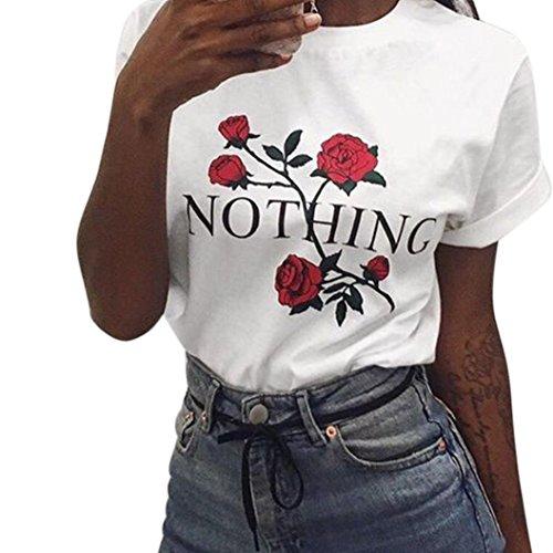 Bekleidung Longra Damen Sommer Kurzarm T-Shirts mit Nothing Rose Stickerei Sommer Lose Tops Kurz-Sleeved Bluse Shirt White