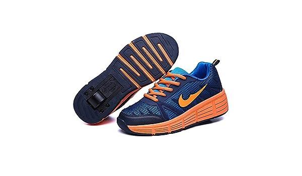 Miarui Roue Chaussures de Sport Chaussures de Skate /à roulettes Chaussures roulettes Fille Et gar/çon Entra/înement Roller Skate Chaussures avec Roue Simple Bouton Poussoir Ajustable,Marine,28