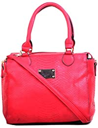 Hopping Street Red Faux Leather women Hand Bag