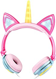KEYMAO Unicorn Kids Headphones, Over Ear with LED Glowing Cat Ears,Safe Wired Kids Headsets 85dB Volume Limited, Food Grade