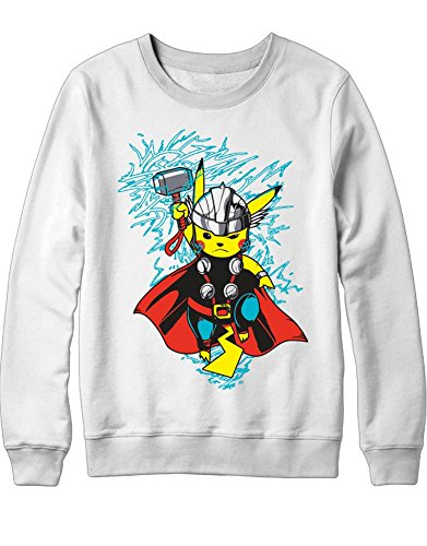 Sweatshirt Pokemon Go Pikachu The Avengers Cross Over Hulk Iron Man Captain America Thor Hype X Y Nintendo Blue Red Yellow Plus Hype Nerd Game C210019 Weiß L (Pokemon Misty Kostüm)