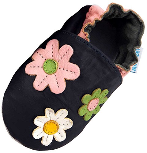 MiniFeet Premium Weich Leder Babyschuhe - Verschiedene Stile - Jungen und Mädchen BabySchuhe - Neugeborene bis 3-4 Jahre Blumen