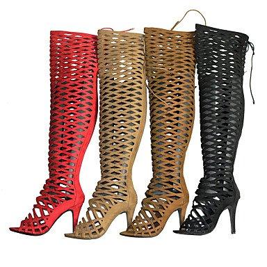 LvYuan Da donna-Sandali-Formale Casual Serata e festa-Altro-A stiletto-Tessuto-Nero Rosso Cammello Marrone scuro Camel