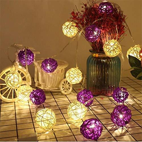 Lumineux Kostüm - PPTRTYQ 5 Mt Weiß Lila Rattan Ball LED String Lichterkette Weihnachten Hochzeit Dekoration Guirlande Lumineuse Exterieur Guirlande (Farbe: Warm White, Wattage: Au Plug)