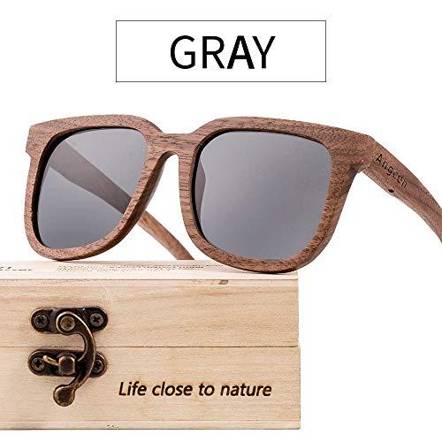 MIAOMIAOWANG Wayfarer Sonnenbrillen Hölzerne Sonnenbrille UV-400 polarisierte Gläser für Männer und Frauen, die 100% UV blockieren Stil Unisex-Farben (Farbe : Grau, Größe : Casual Size)